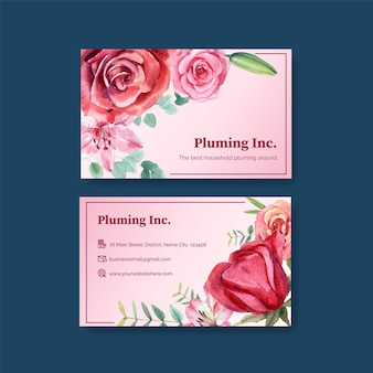 Business card templates with father's day concept in watercolor style