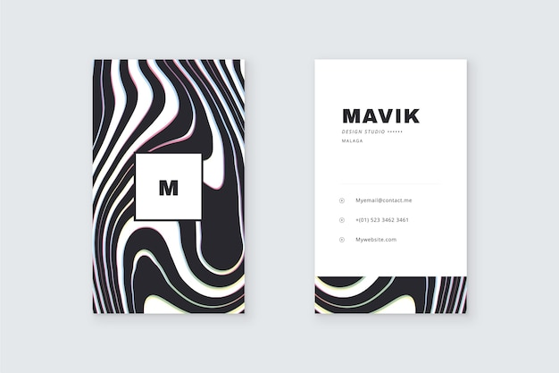 Business card theme disorted lines