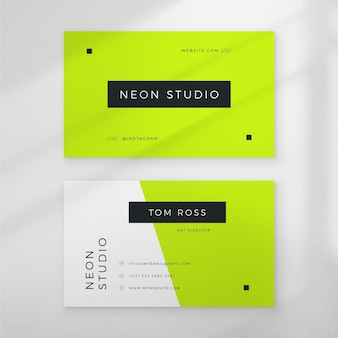 Business card theme neon