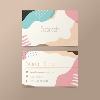 Business card theme with pastel colored stains