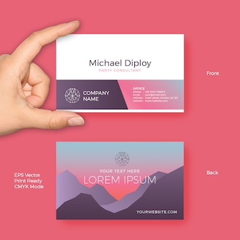 Business card vector template with modern sunset gradient colors and luxury minimalist style