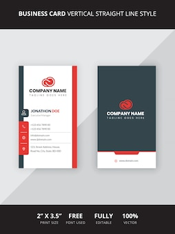 Business card vertical straight line style
