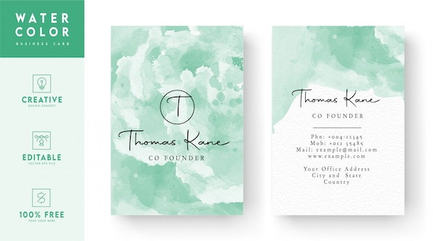 :business card  - vertical watercolor id card design