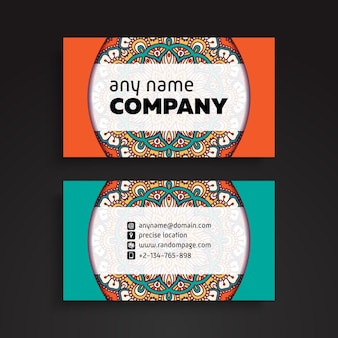 Business card. vintage decorative elements. ornamental floral business cards or invitation with mandala