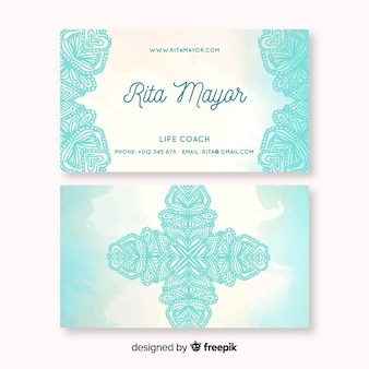 Business card watercolor mandala