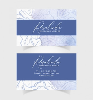 Business card watercolor with blue flower illustration Premium Vector