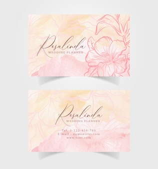 Business card watercolor with orange flower illustration