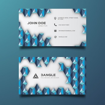 Business card with 3d geometric element