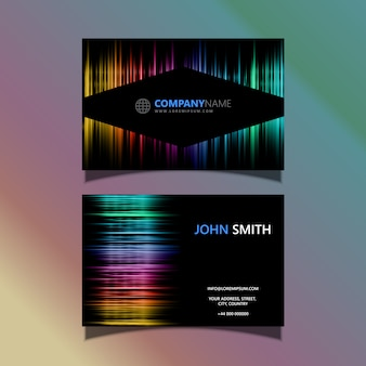 Визитная карточка с цветным дизайном спектра