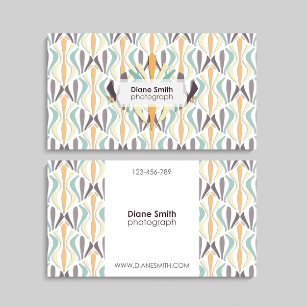 Business card with abstract elements.