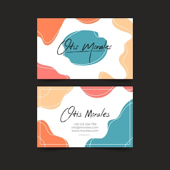 Business card with abstract pastel-colored stains