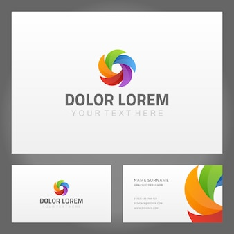 Business card with abstract spiral vortex logo template