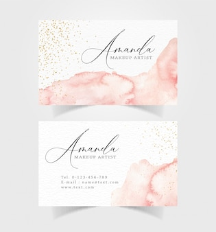 Business card with abstract splash and sparkle watercolor