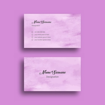 Business card, with abstract splash watercolor   design template Premium Vector