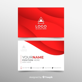 Business card with abstract wavy shapes