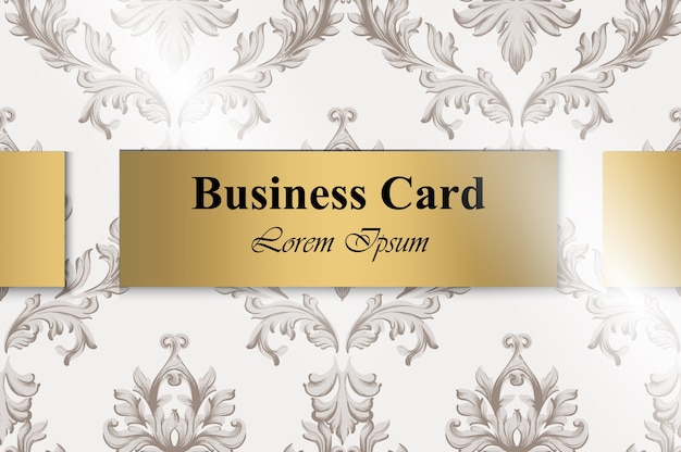 Business card with baroque ornament vector. handmade background golden label design templa