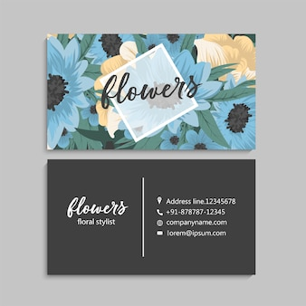 Business card with beautiful blue flowers. template