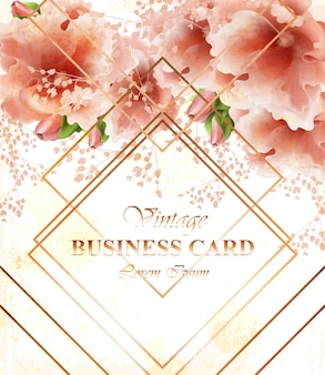 Business card with beautiful delicate pink flowers