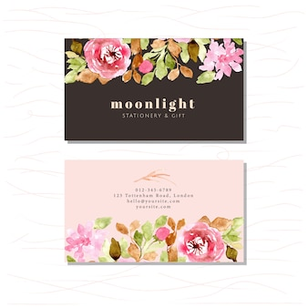 Business card with beautiful floral watercolor