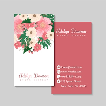 Business card with beautiful flowers and berriyes. template