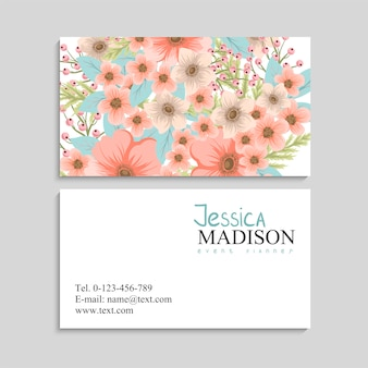 Business card with beautiful flowers. t
