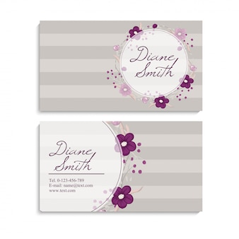 Business card with beautiful flowers. template