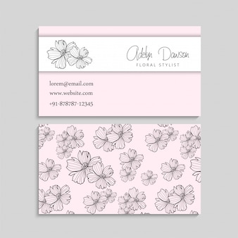 Business card with beautiful flowers template