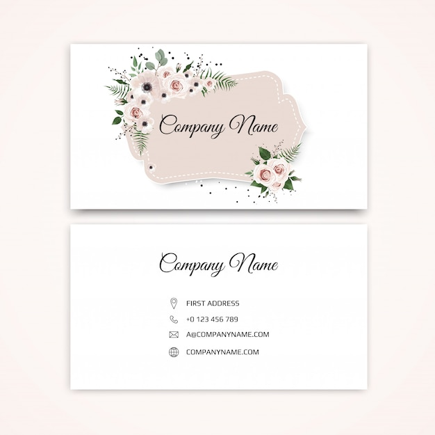 Business card with beautiful flowers. template.
