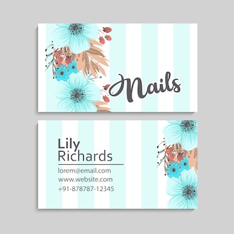 Business card with beautiful light blue flowers. template