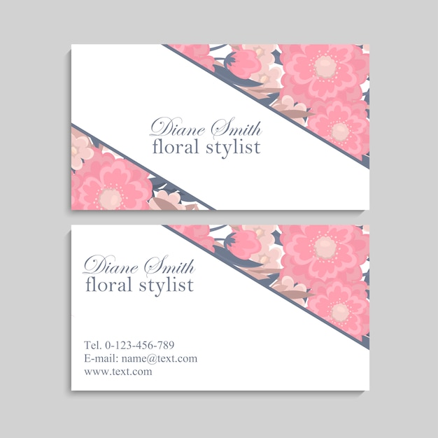 Business card with beautiful pink flowers. template