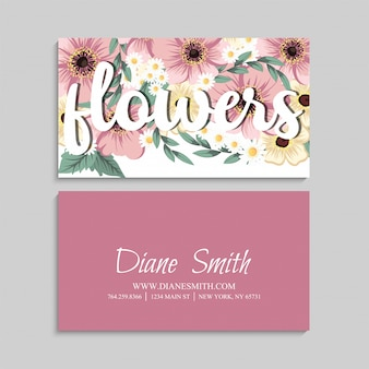 Business card with beautiful pink flowers