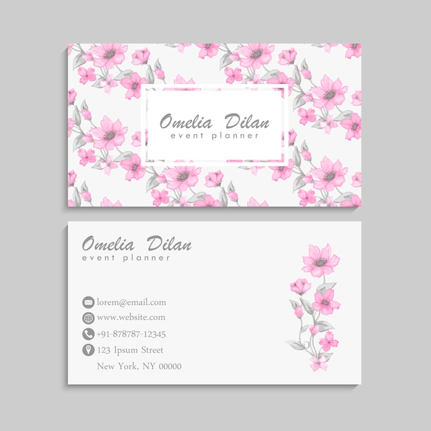 Business card with beautiful pink watercolor flowers