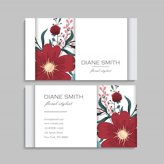 Business card with beautiful red flowers