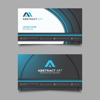 Business card with black circular shapes