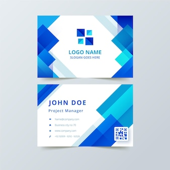 Business card with blue abstract shapes