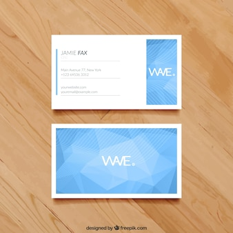 Business card with blue polygons