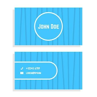 青い縞模様の名刺。ビジネスライクなセレモニー、チラシ、ビジュアルアイデンティティ、名刺のコンセプト。白い背景で隔離。フラットスタイルトレンドモダンなロゴデザインベクトルイラスト