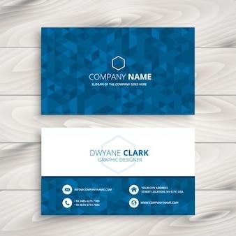 青い三角形のパターンのビジネスカード
