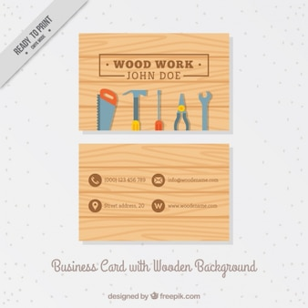 Business card with carpentry tools