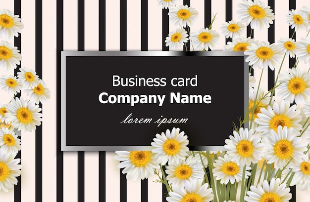Business card with chamomile flowers