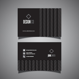 Business card with chevron pattern