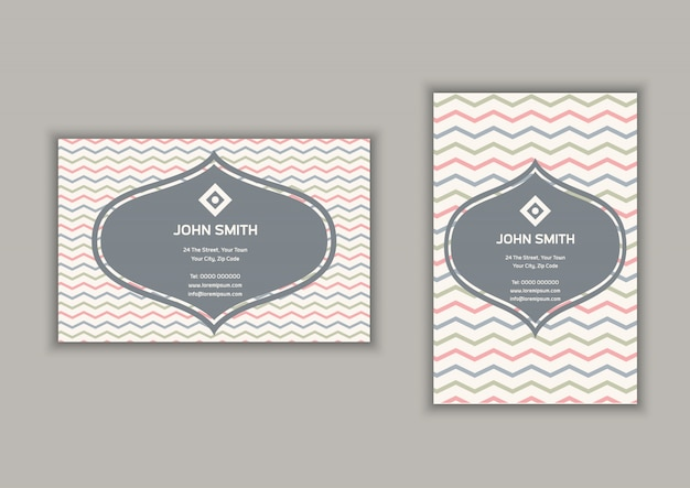 Business card with chevron stripes  in portrait and landscape format