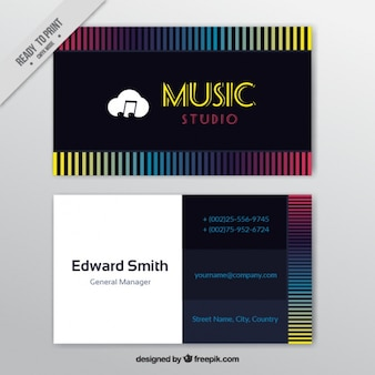 Business card with colored lines for a music studio