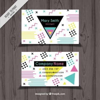 Business card with colored modern shapes