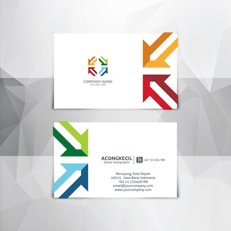 Business card with colorful arrows