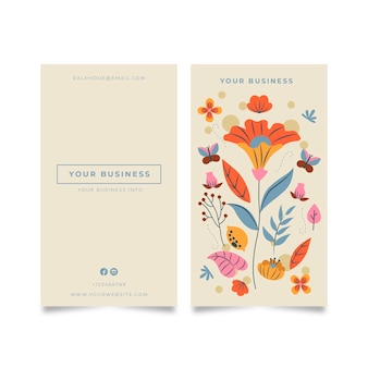 Business card with colorful flowers and leaves