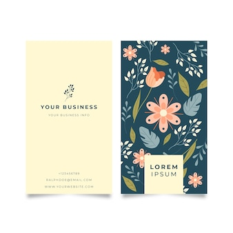 Business card with colorful flowers