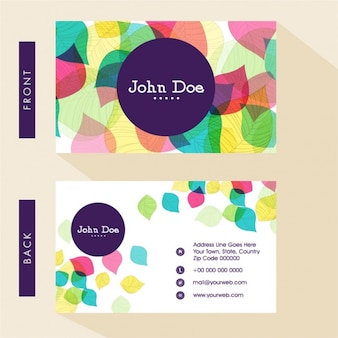 Business card with colorful leaves