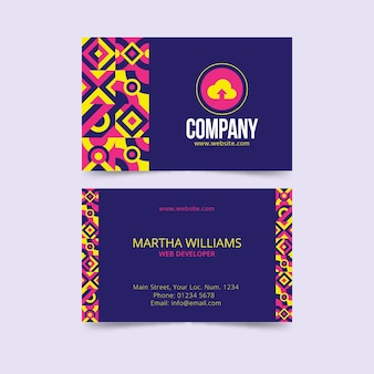 Business card with colorful pattern Free Vector