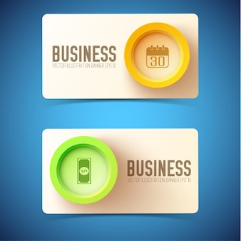 Business card with colorful round buttons and business icons